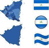 Nicaragua Map and Flag Collection