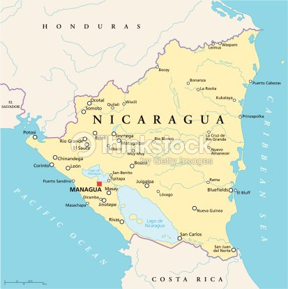 Nicaragua Political Map Vector Art | Thinkstock