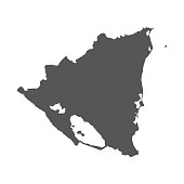 Nicaragua vector map. Black icon on white background.