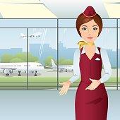 Stewardess in red uniform at the airport. Flat design, vector cartoon illustration.