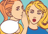 nice vector pop art retro comic vector illustration. Woman whispering gossip or secret to her friend. Speech bubble. Eps 10.