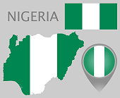 Colorful flag, map pointer and map of Nigeria in the colors of the Nigerian flag. High detail. Vector illustration