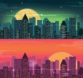 Night and evening city landscape. Skyline with skyscrapers. Flat city. Vector illustration