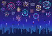 Night city fireworks. Holiday feast celebration firework, celebrated festive firecracker over town new year, carnival or independence day celebrate silhouette vector background