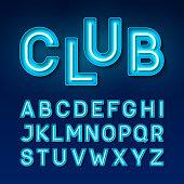 Broadway night club vintage style neon font, vector illustration