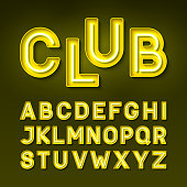 Broadway night club vintage style neon font, vector illustration