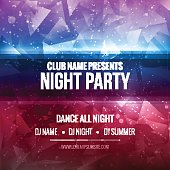 Night Dance Party Poster Background Template. Festival Vector mockup