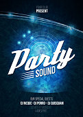 Night Disco Party Poster Background Template - Vector Illustration.
