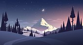 night landscape with mountain and moon in vector
