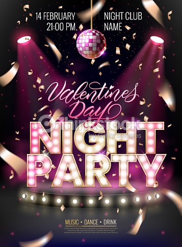 Night party background for flyer, banner, advertisement, invitation to disco night party.Valentines Day event. Scene illuminated by spotlights and disco ball : stock vector