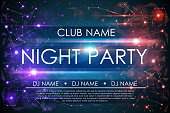 Night party poster in vector