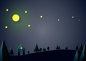 Night scene nature landscape with house,stars and moon background.Paper art of ecology and environment conservation creative idea concept design.Vector illustration.