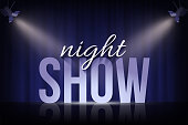 Night Show words under spotlights on blue curtain background. Vector cinema, theater or circus background