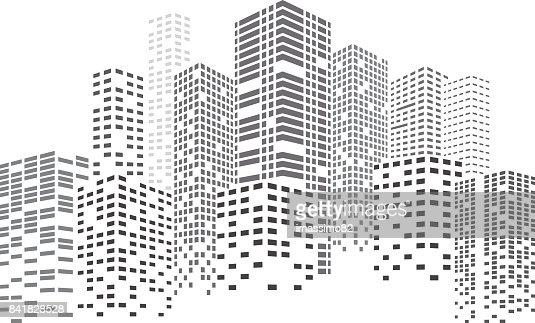 Night Skyscrapers City : Vector Art