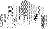 Black buildings. City Skyscrapers illustration. Urban scene. Vector design element isolated on white background.