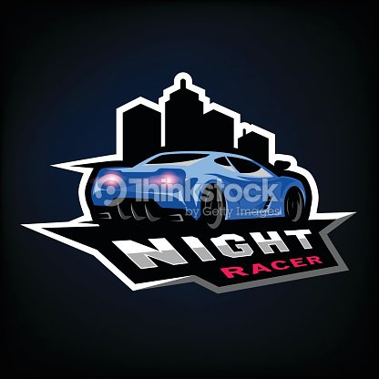 Night street racer, emblem, icon.
