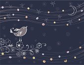 Vector background with a decorative singing bird.
