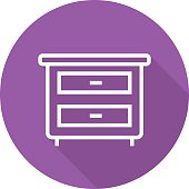 Nightstand. Bedside table flat linear vector icon