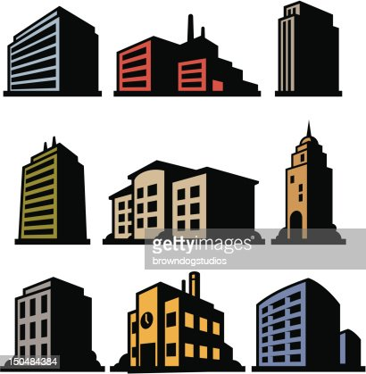 Nine Buildings : Vector Art