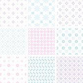 Nine different sealmess patterns. Collection of cute simple designs in blue and pink pallette. Trendy vector backgrounds.