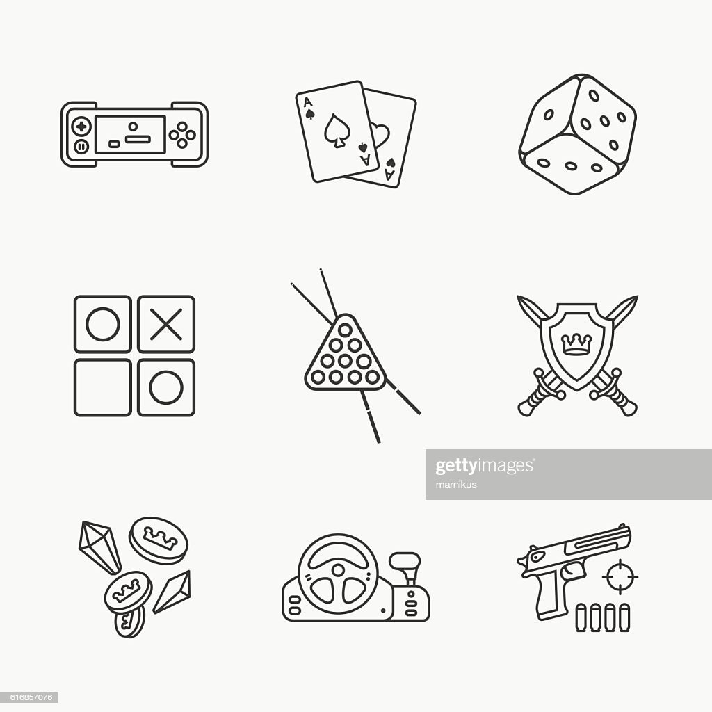 nine flat game icons : Vector Art