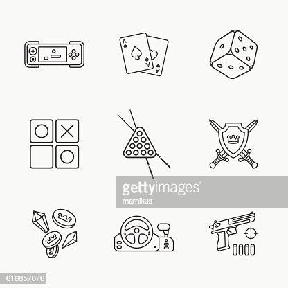 nine flat game icons : Vector Art