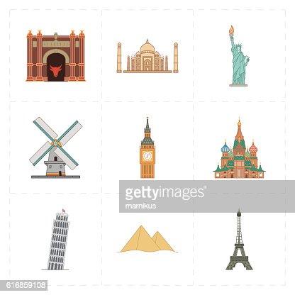 nine flat landmark icons : Vector Art