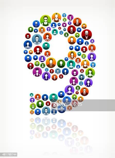Neun Menschen Gesichter Gemeinschaft und Kommunikation-Muster.