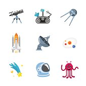This is a vector illustration of nine stylish space icons