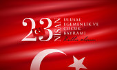 Turkish National Festival. 23 Nisan Cocuk Bayrami, April 23 Turkish National Sovereignty and Children's Day in Turkey. Typographic design for social media or print design.