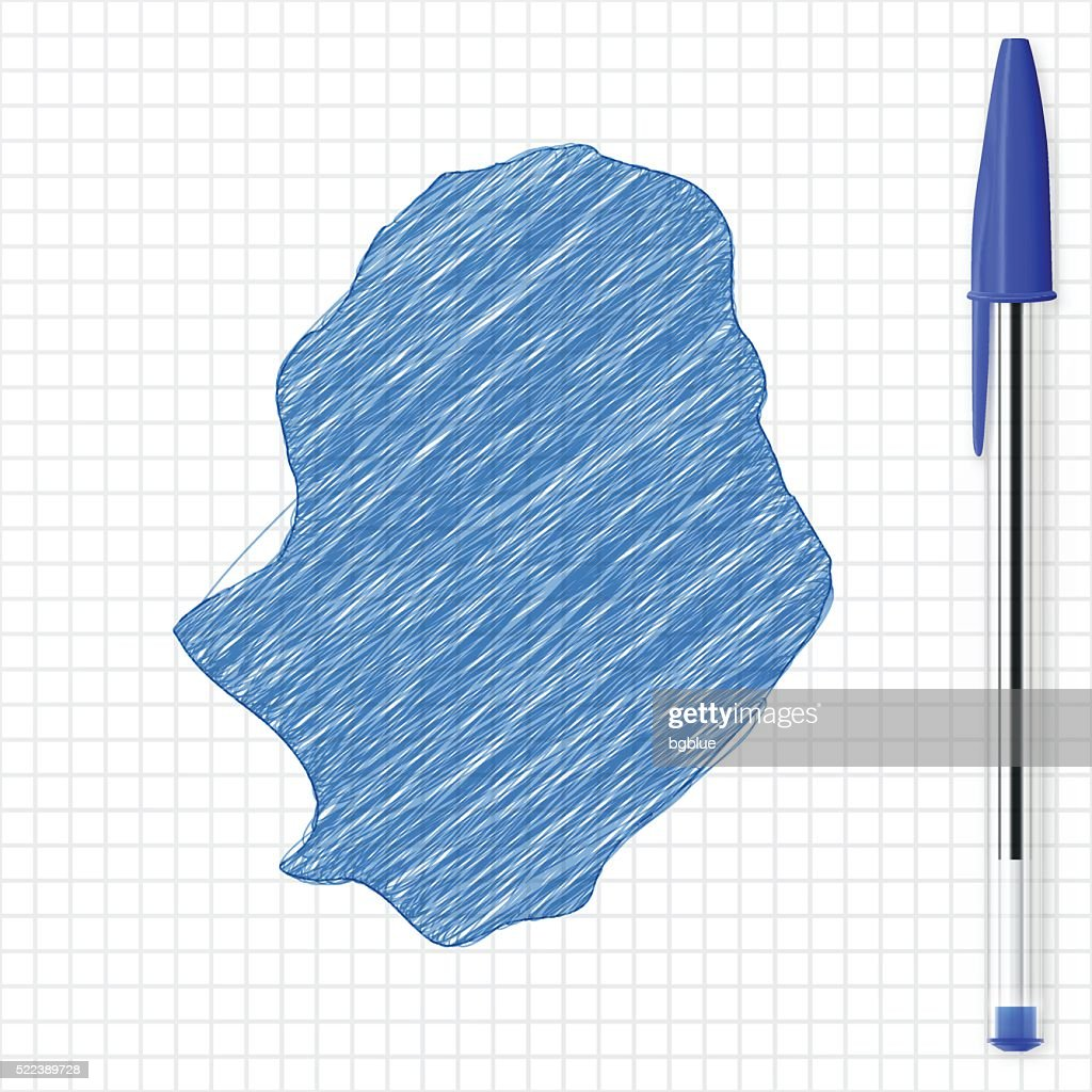 Niue Map Sketch On Grid Paper Blue Pen Vector Art Getty Images - Niue map