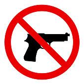 No gun allowed sign. Symbol, illustration