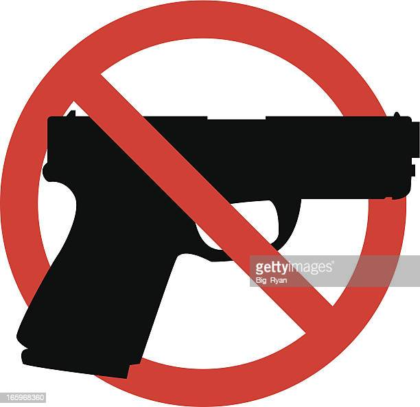 No guns sign, black gun outline in red crossed circle