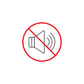 No noise line icon, no sound red prohibited sign, vector graphics, a linear color pattern on a white background, eps 10.