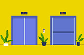 No People. Open and closed elevator cabins. Business center hall. Office. Weekday life. Flat editable vector illustration, clip art