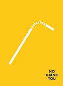 No Plastic Straw Motivational Poster. Say NO Plastic Save the earth