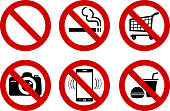 set of No signs for different prohibited activities. No smoking, no drinking, no photographing, and other. Vector illustration - you can simply change color and size