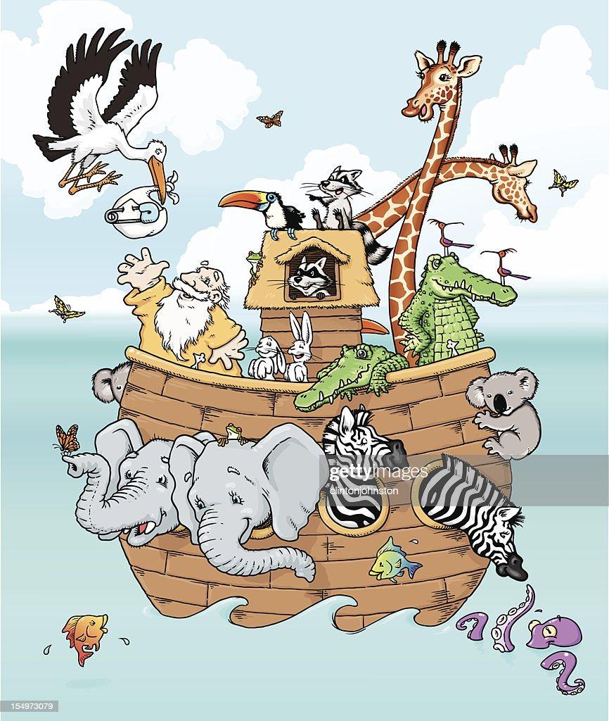 Noah Meets the Stork : Vector Art