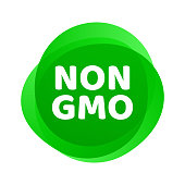 Non GMO icon. Vector green GMO free logo sign for healthy food package design.