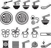 Noodle icons set.
