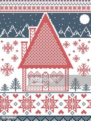 Skandinavische muster blau  Nordischen Stil Und Inspiriert Von Skandinavischen Weihnachten ...