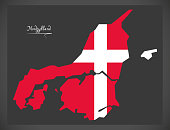 Nordjylland map of Denmark with Danish national flag illustration