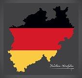 Nordrhein-Westfalen map of Germany with German national flag illustration