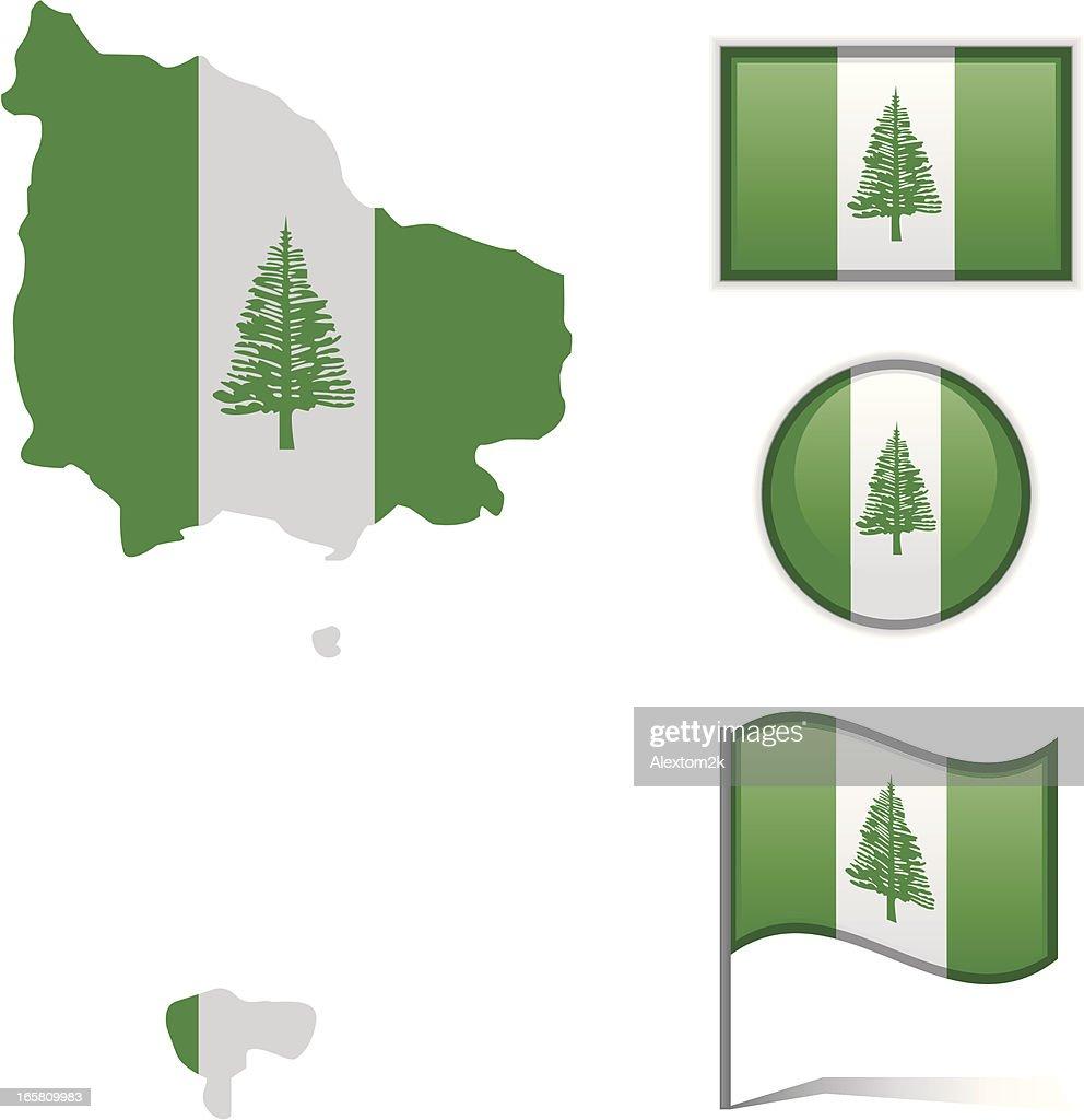 Norfolk Island Map Flag Vector Art Getty Images - Norfolk island map