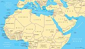 North Africa and Middle East political map with most important capitals and international borders. Maghreb, Mediterranean, West and Central Asian countries. Illustration with English labeling. Vector