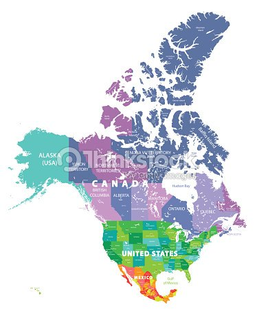North America High Detailed Vector Map With States Borders Of Canada ...