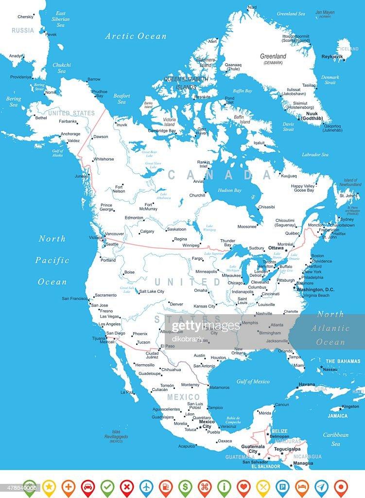 North America Map Navigation Icons Illustration Vector Art