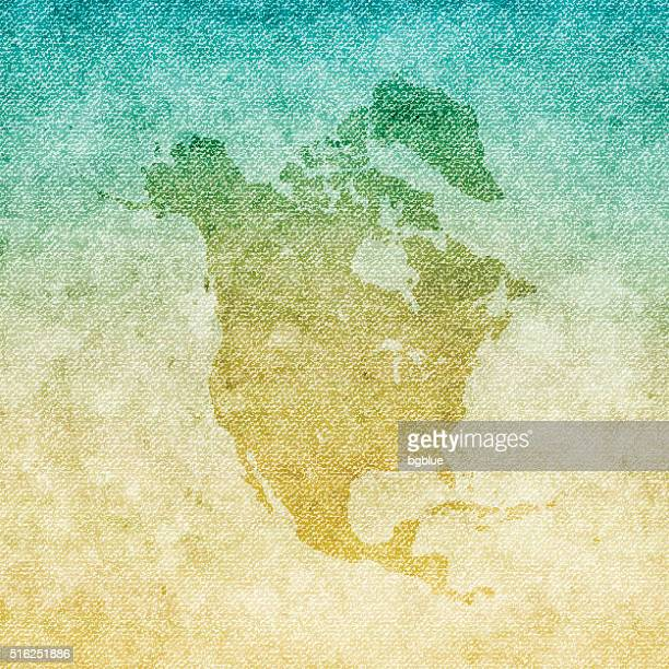 North America Map on grunge Canvas Background