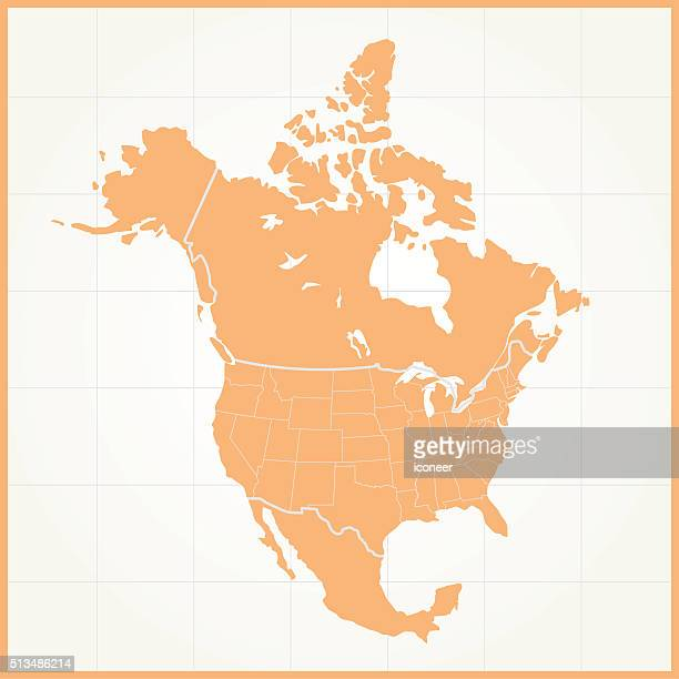 North America orange map on grid background