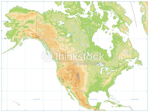 North America Physical Map Isolated On White No Text stock vector ...